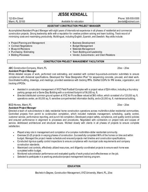 Project Manager Resume Objectives by Resume Sle Project Management Resume Sles Free Construction Project Management Resume