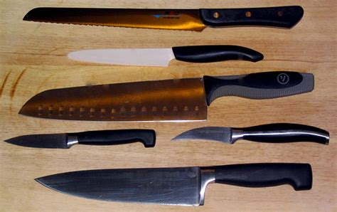 kitchen knives wiki file various cooking knives kyocera henckels mac