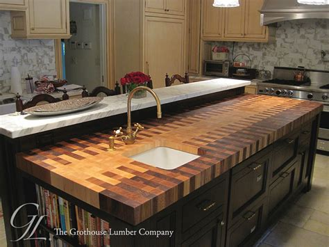 Kitchen Island Tables Butcher Block Countertop With An Interlocked Pattern