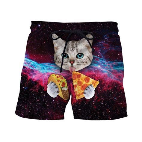 Cat Shorts by Space Galaxy Blue Cat Taco Pizza Awesome 3d
