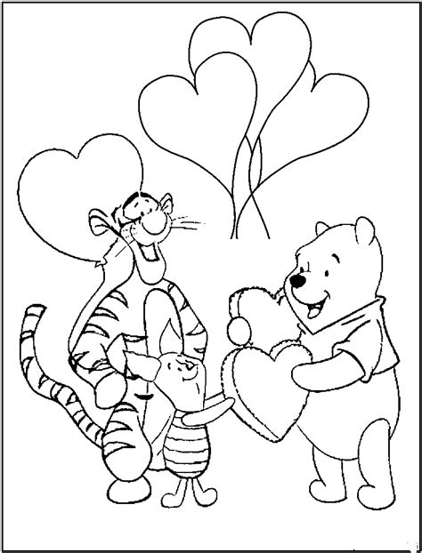 pooh valentine coloring pages pooh