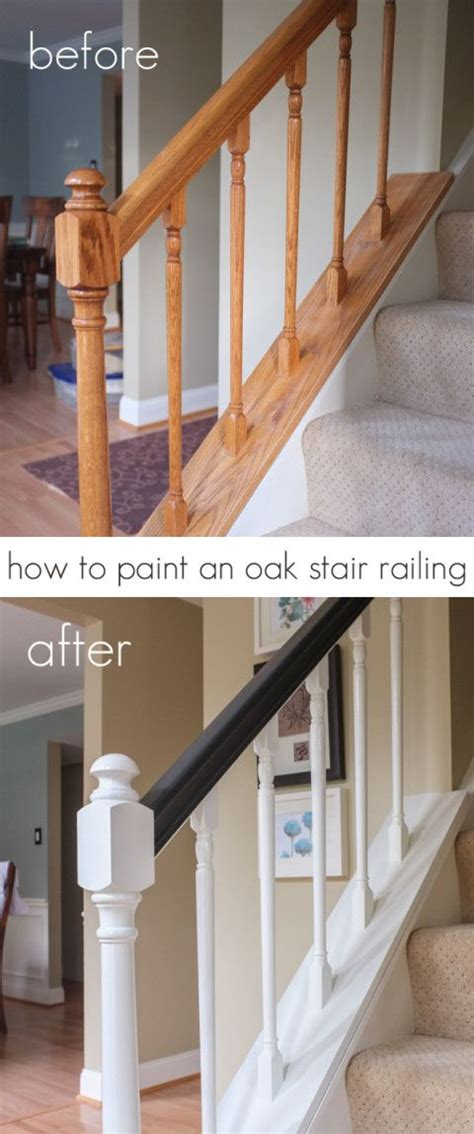 how to paint a stair banister how to paint an oak stair railing black and white diy