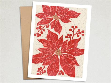 Lino Cut Cards by Handmade Card Poinsettia Linocut The