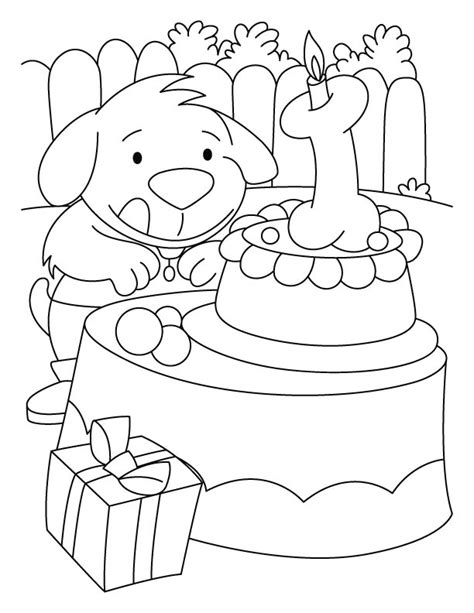 puppy birthday coloring page a puppy with the birthday cake coloring pages download