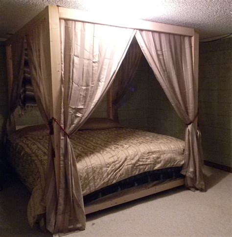 hubby homemade canopy bed now all that s left is to