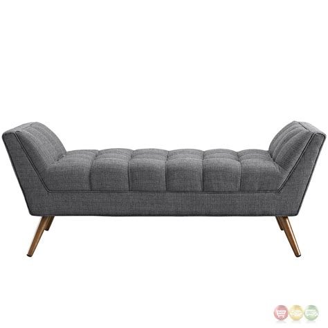 grey tufted bench response contemporary button tufted upholstered bench gray