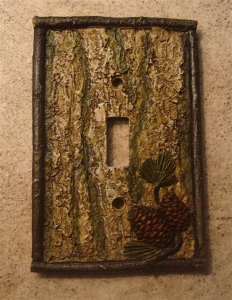 pine cone bark lodge cabin light switch plate cover new ebay