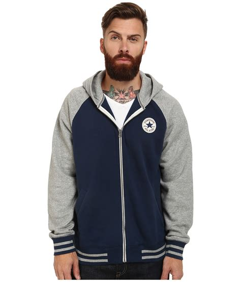 Sweater Jaket Hoodie Converse Terbaru Terlaris converse patch hooded baseball jacket in blue for lyst