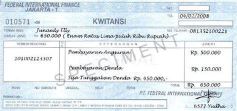 Contoh Kwitansi Yang Sah by Cara Membayar Cicilan Angsuran Kredit Motor Fif