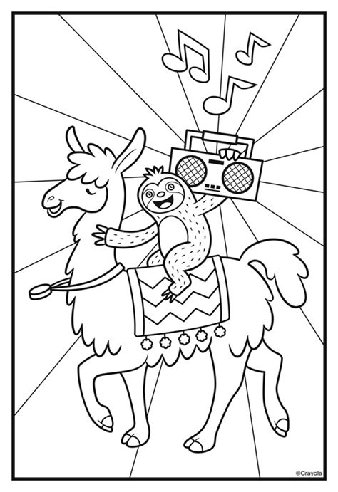 llama coloring pages sloths llamas boombox coloring page crayola