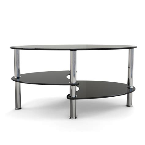 Glass Coffee Table Black Rove Elm 38 Inch Oval Two Tier Black Glass Coffee Table