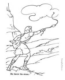 His Harp David Throwing The Stone At Goliath And sketch template