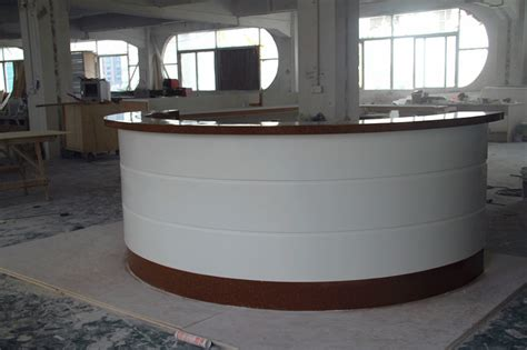 Semi Circle Reception Desk Top Quality Free Custom Service Led Lighted Acrylic Solid Surface Semi Circle Cheap Reception