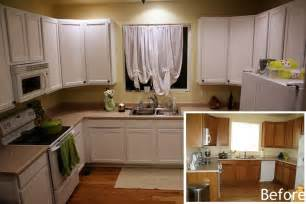 Kitchen Cabinet White Paint by Painting Kitchen Cabinets White Before And After Pictures