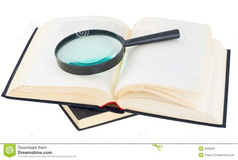 Novel Glass books and magnifying glass stock photos image 9533563