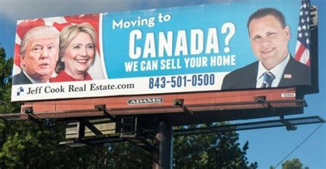 moving to canada america real estate agent puts up billboard to help canada