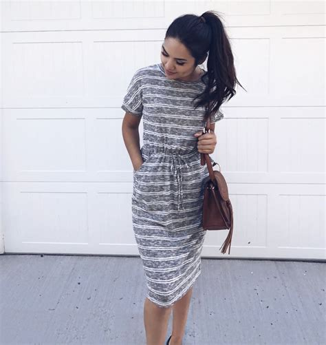 striped dress casual    boutique comfy