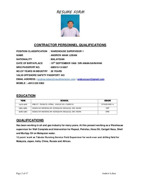 Resume Format Kerajaan Resume Feb 20 2017