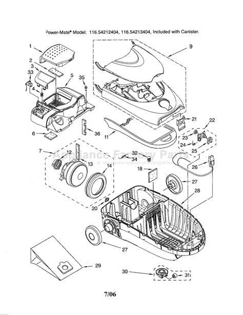 kenmore vacuum model 116 parts diagram kenmore 116 24212404 parts vacuum cleaners