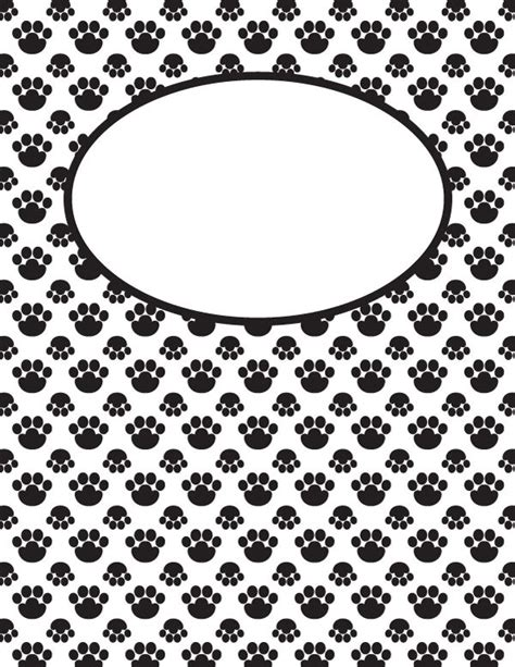 free printable binder covers no download free printable black and white paw print binder cover