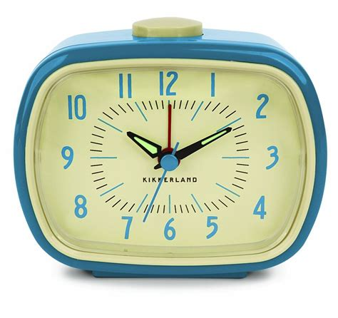 retro alarm clock  bedside table blue battery operated