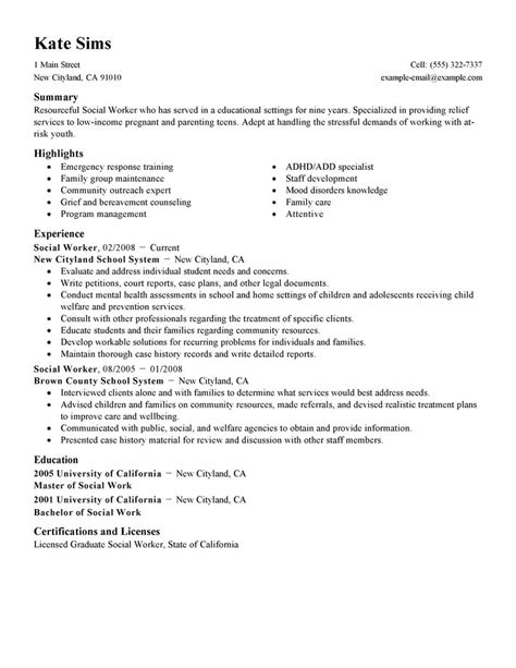 Work Resumes Exles by Social Worker Resume Exle Social Services Sle Resumes Livecareer