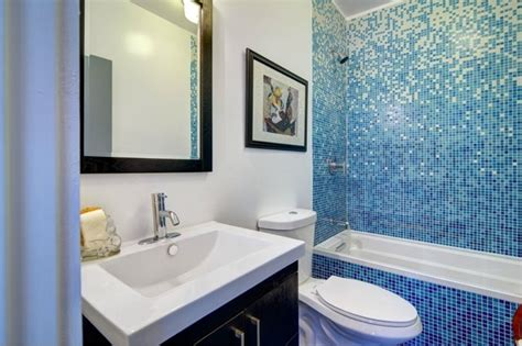bathroom with vibrant blue tile modern bathroom los