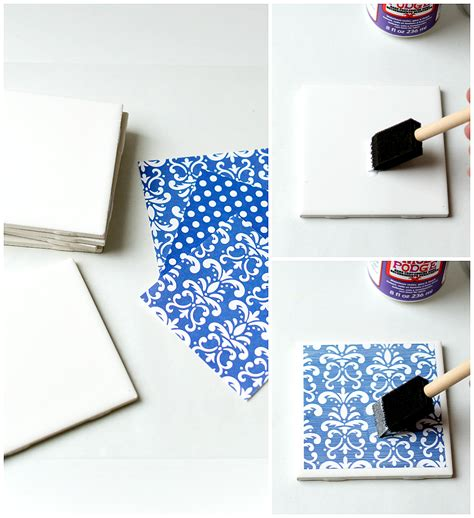 How To Make Coasters Out Of Tiles And Scrapbook Paper - diy tile coasters it all started with paint