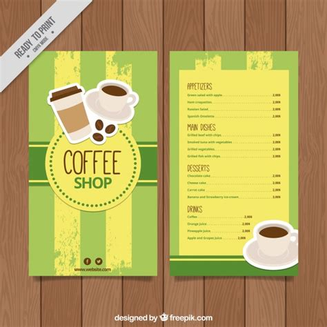 retro coffee menu template vector free