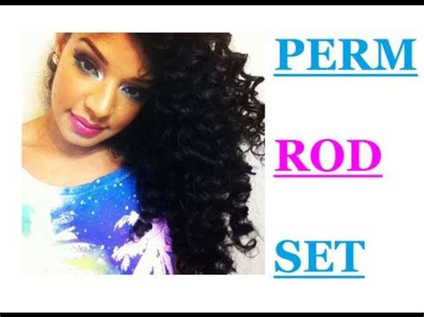 how to do a perm rod set on short relaxed hair perm rod set on natural curly hair tutorial youtube