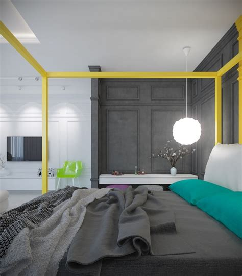 bright colour interior design a pair of trendy houses with distinctively shiny colour themes