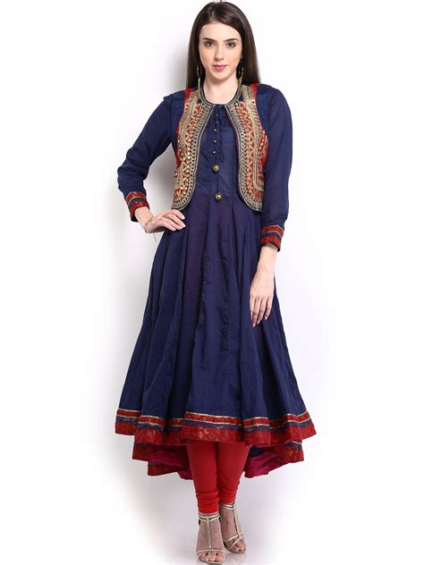jacket pattern kurta for ladies buy biba outlet women navy anarkali kurta with waistcoat
