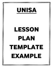 lesson plan template unisa unisa university of south africa course hero