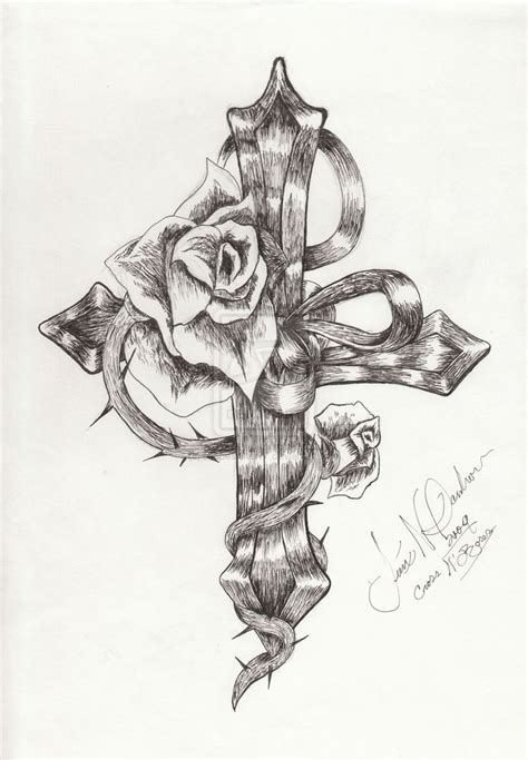 sketch rose tattoo cross designs crosses with roses and wings