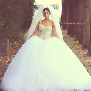 Puffy Wedding Dresses Glamorous Asymmetrical Neck Beads Sequins Puffy Skirt Lined Big Ball Gown Wedding Dresses 2014