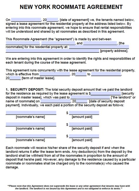 New Agreement Letter Free New York Roommate Agreement Template Pdf Word