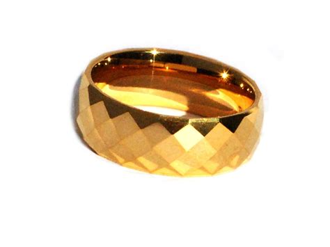 New Trend 24k Gold by Tungsten Carbide 8 Mm 24k Gold Plated Multi Faceted Band Ring