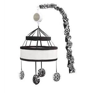 Black Crib Mobile by Black And White Canopy W Floral Designed Circles Musical