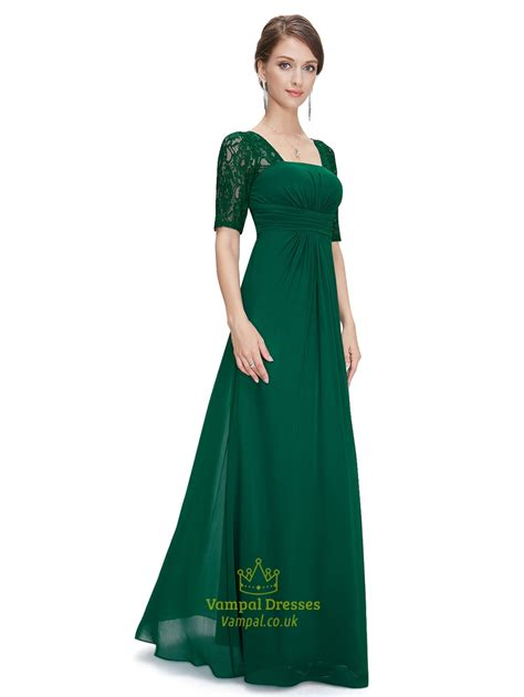 Sleeve Chiffon Dress emerald green empire waist chiffon bridesmaid dresses with