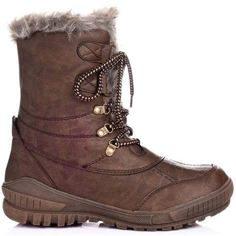 buy frida flat hiking snow ankle boots brown leather style