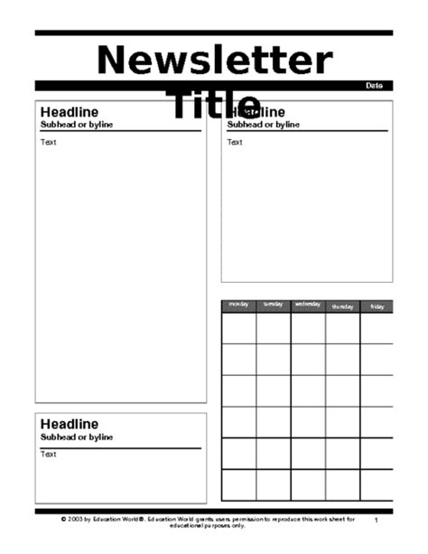 education world newsletter templates esmartin89 letters and forms