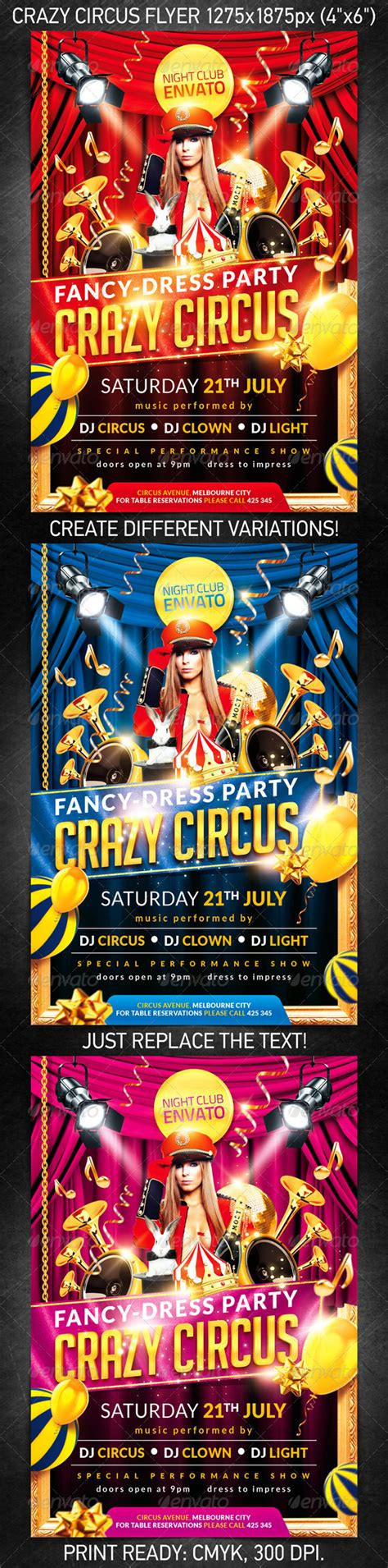 carnival party flyer crazy circus party flyer psd template on pantone canvas