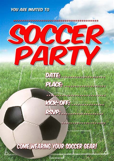printable soccer invitation templates free kids party invitations soccer party invitation