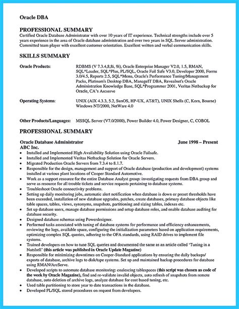 Oracle Dba Resume Exles by High Impact Database Administrator Resume To Get Noticed Easily