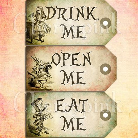 alice in wonderland tags template 7 best images of eat me drink me printable templates