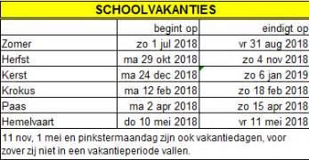 Kalender 2018 Vakanties Schoolvakanties 2017 2018