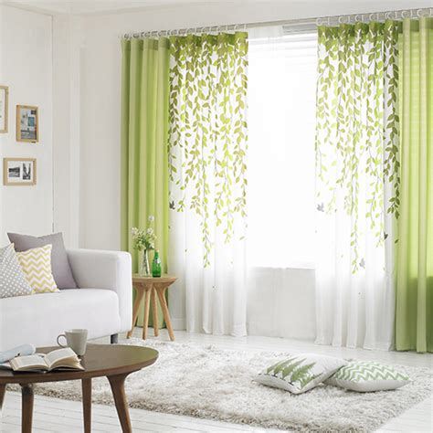 Lime Green and White Leaf Print Poly/Cotton Blend Country Living Room Curtains