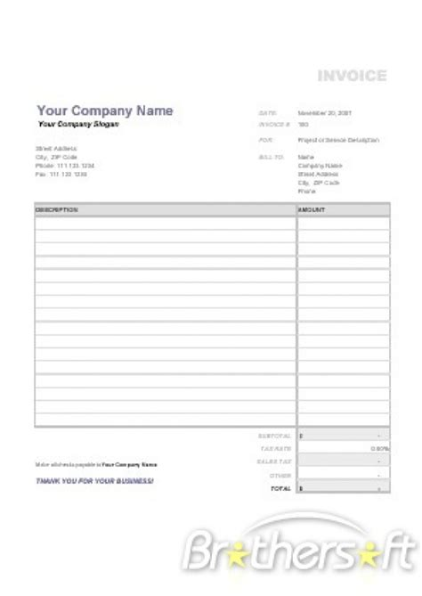 microsoft works invoice template free download invoice