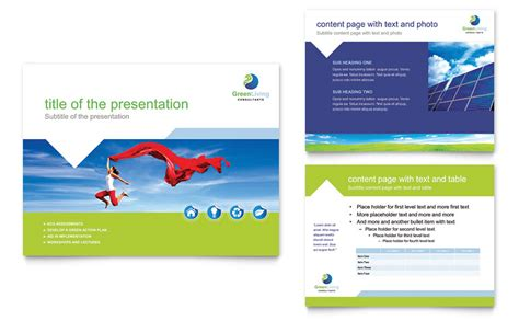 Open Office Presentation Templates Card Layout by Green Living Recycling Powerpoint Presentation