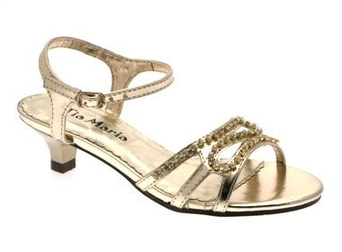 Sendal Sandal Heels Gold low heel diamante wedding bridesmaid gold